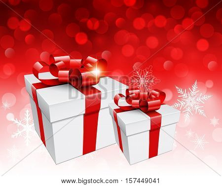 Christmas background with gift boxes over red blinking bokeh, vector  illustration