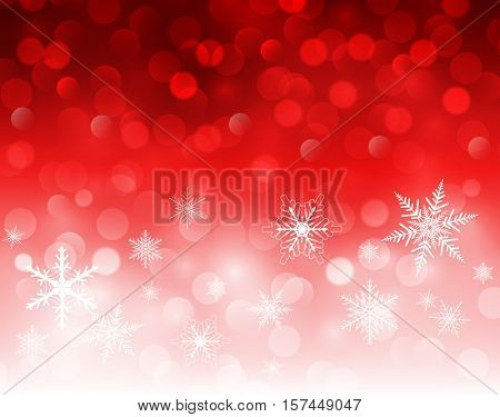 Christmas background red blinking bokeh with snowflakes, vector  illustration