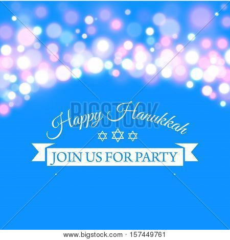 Vector illustration of Happy Hanukkah greeting card with hand-drawn calligraphy designed text. Happy Hanukkah background.