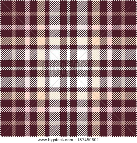 Seamless tartan plaid pattern. Checkered fabric texture print in pink, pale orange & white twill stripes on dark maroon background.