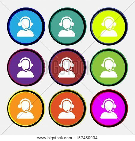 Customer Support Icon Sign. Nine Multi Colored Round Buttons. Vector