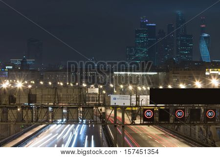 View Of Moscow City And Third Ring Road At Night