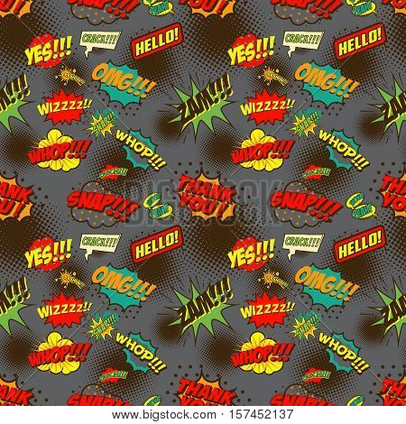 Seamless pattern with comic style phrases. Pop art style quotes. Vector design element.