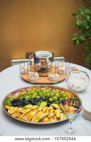 Fondue And Fruit Plate