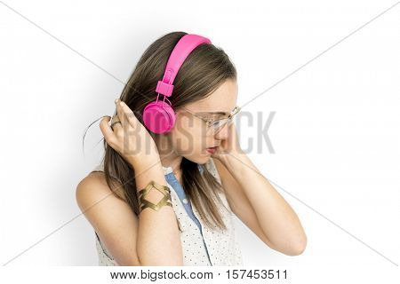 Young Woman Listening Music Concept
