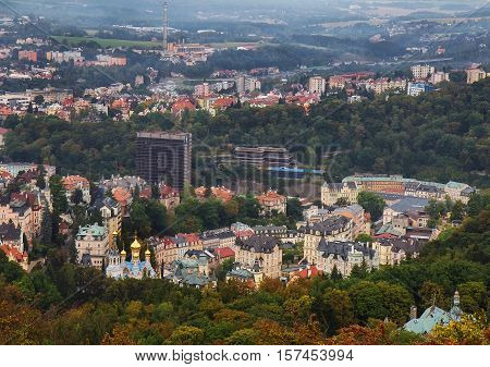 View from Diana tower on Karlovy Vary (Karlsbad) Czech Republic.