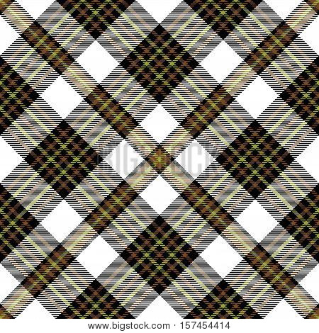 Seamless tartan plaid pattern. Checkered fabric texture design in brown, olive green & black stripes on white background.
