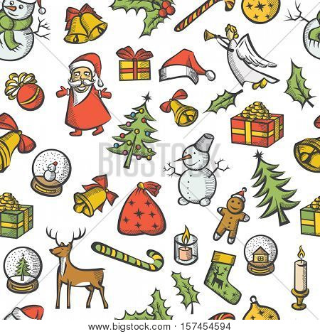 Vector Christmas seamless pattern, and New Year elements vintage style