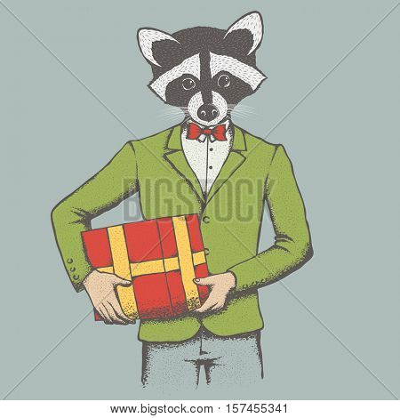 Raccoon vector illustration Christmas costume. Raccoon in human suit