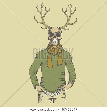 Vector skull with deer horn in sweater illustration. Hand drawn skull. Skull human in sweatshirt