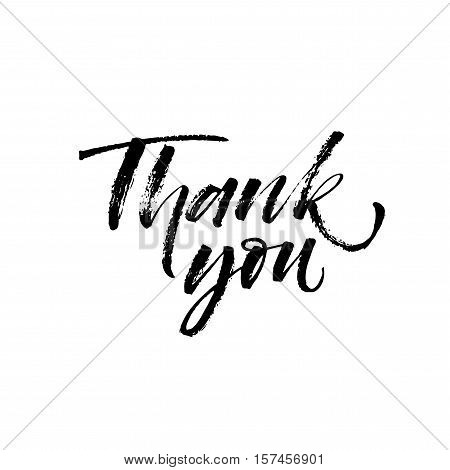 Thank you postcard. Hand drawn greeting phrase. Ink illustration. Modern brush calligraphy. Isolated on white background.