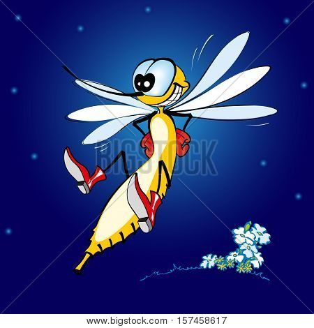 Cheerful mosquito. Jolly gnat on a night glade