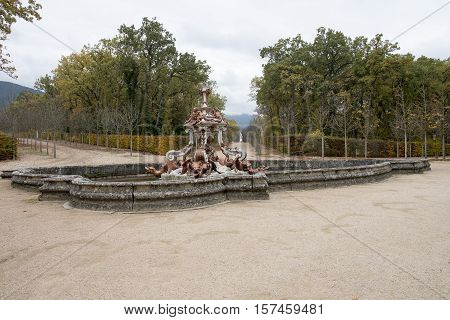 Autumn in the gardens with monumental fountains and forests of the Palacio de la Granja Segovia