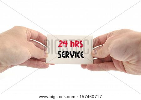 24 hrs service text concept isolated over white background