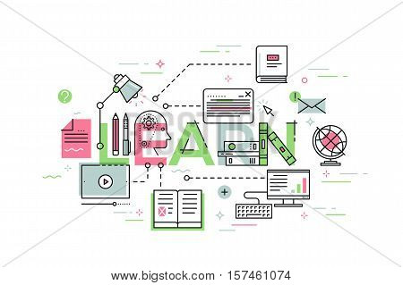 Modern vector illustration concept of word energy. Thin line banner concept for education, online learning, school and university, training and courses.