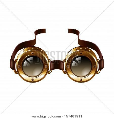 Steampunk goggles isolated on white photo-realistic vector illustration