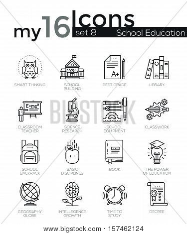 Modern thin line icons set of school education essentials. Premium quality outline symbol collection. Simple mono linear pictogram pack. Stroke vector logo concept for web graphics.