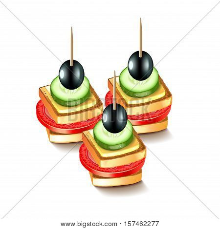 Canapes with olives isolated on white vector illustration