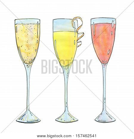 Hand Drawn Set Of Watercolor Cocktails Mimosa Bellini Champagne Cocktail French 75 On White Backgrou