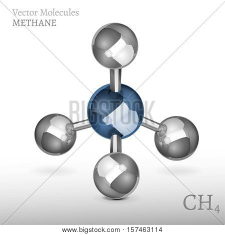 Methane molecule in 3D style. CH4 vector illustration isolated on a white background. Scientific, educational and popular-scientific concept.