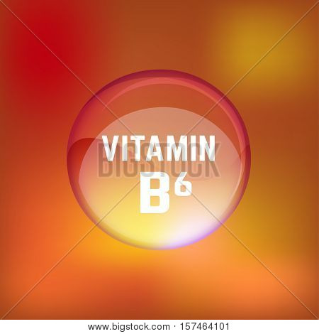Vitamin B6 pill. Shining glossy circle droplet. Vector illustration in orange and light brown colours. Medical and pharmaceutical image.