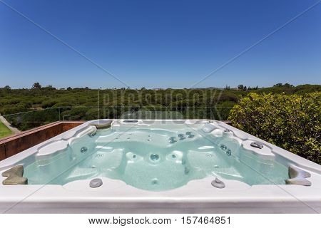 A luxury Jacuzzi outdoor on the roof. Close-up.