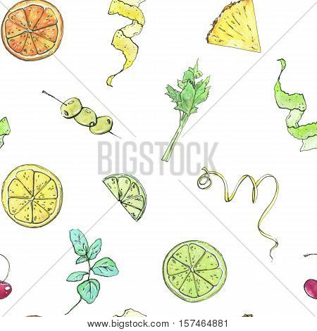 Hand Drawn Watercolor Seamless Pattern With Garnish Elements Fruits And Berries On White Background