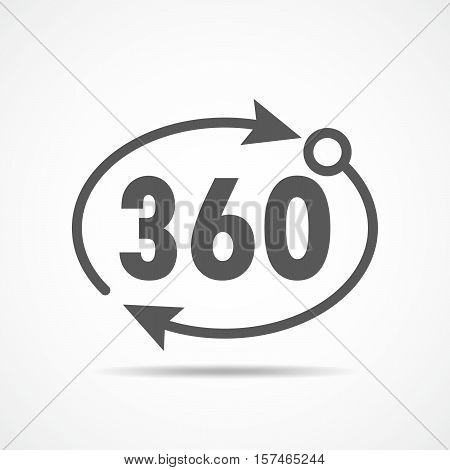 Three hundred sixty degrees view signs on light background. Angle 360 degrees icon. Vector illustration.