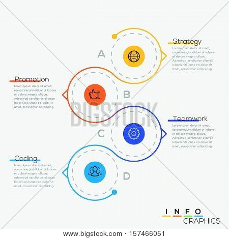 Thin line minimal circle arrow business infographic timeline template. Vector illustration. Can be used for workflow layout, diagram, number options, web design, infographics and timeline.