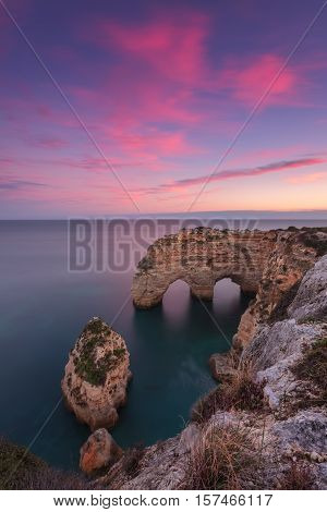 Beautiful seascape on the beach of the arch Marinha. Portugal Algarve