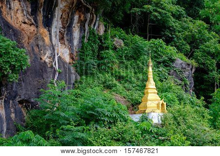 Small Buddhist Golden Pagoda In The Forest At Pindaya Caves, Myanmar