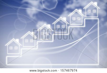 Real estate property ladder concept with houses on steps leading upwards