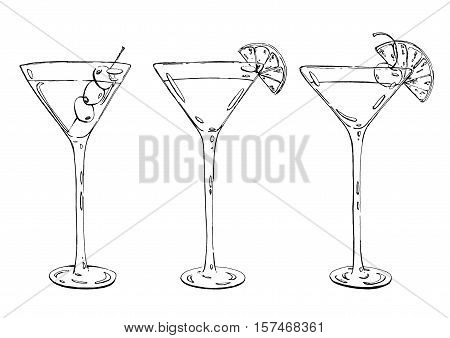 Hand Drawn Graphic Cocktail Martini Whiskey Sour Sidecar Corpse Reviver On White Background