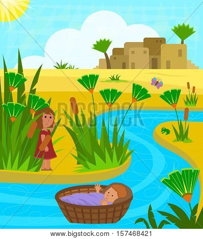 Cute illustration of baby Moses on the Nile river with his sister watching over him from a distance. Eps10