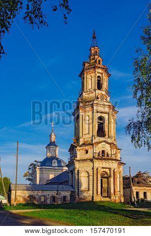 View of ruined Holy Trinity Church in Sredneivkino. Russia