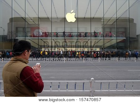 HANGZHOU - FEBRUARY 21:  Apple flag-store at West Lake Hangzhou, 27% of China's smartphones cost over $500, and 80% of those are i Phones, Hangzhou, China, February 21, 2016.