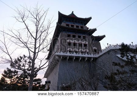 BEIJING - FEBRUARY 24,2016: Archery Tower of Zhengyangmen is a gate in Beijing's historic city wall situated to the south of Tiananmen Square and once guarded the entry into the Inner City in Beijing