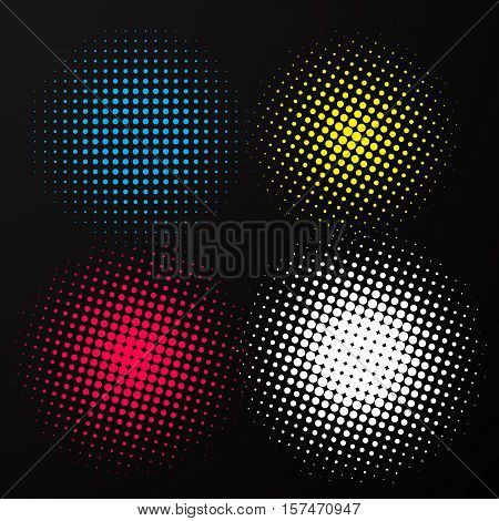 Halftone elements round dots vecto on black background