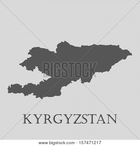 Gray map of country Kyrgyzstan. Vector illustration.