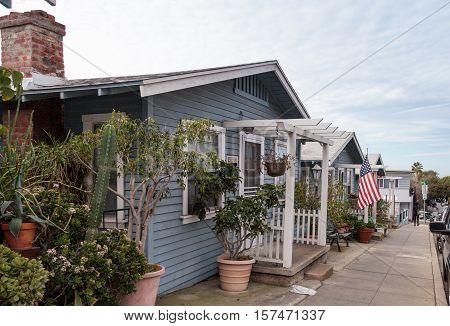Laguna Beach, CA, USA - November 19, 2016: Beach cottages along Park Street in Laguna Beach, California in summer. Editorial use only.