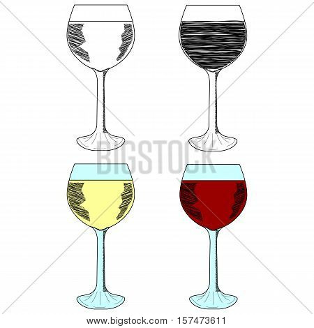 Sketch set of wineglasses. Red wine, white wine. Isolated on white background. Hand drawn vector illustration.