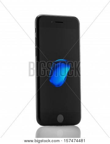 MOSCOW RUSSIA - OCTOBER 18 2016: New black iPhone 7 is a smartphone developed by Apple Inc. Apple releases the new iPhone 7 and iPhone 7 Plus