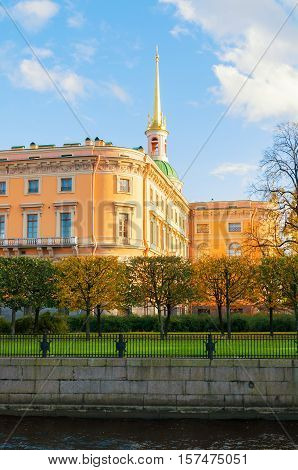 ST PETERSBURG RUSSIA-OCTOBER 3 2016. St Michaels Castle or Engineers Castle in St Petersburg Russia - north side of St Petersburg landmark. Architecture autumn view of St Petersburg landmark