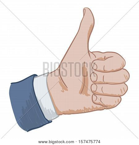 Hand sign thumbs up hand drawing on a white background