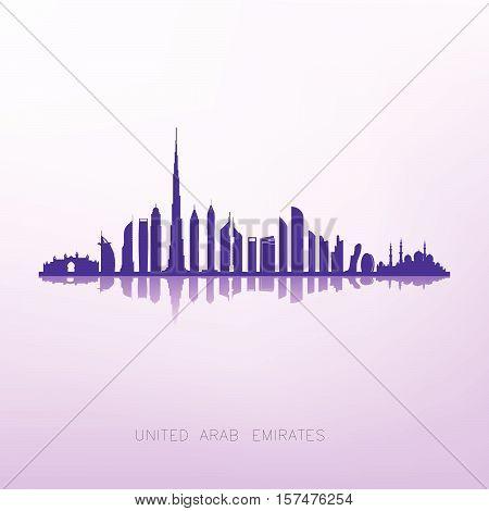 united arab emirates skyline silhouette ,Dubai and Abu dhabi building