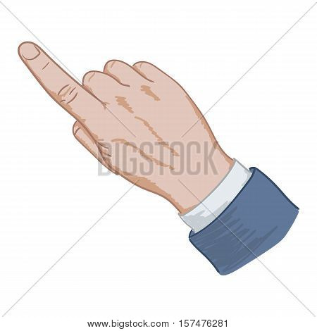Hand sign pointing finger hand drawing on a white background