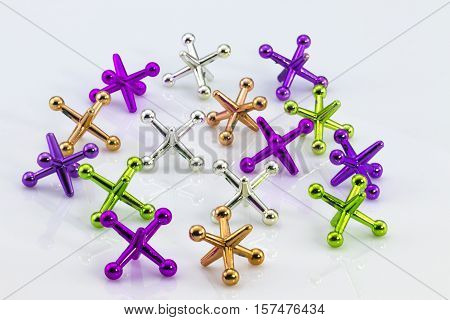 multicolored childrens whirligigs isolated on white background.