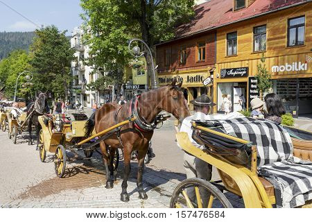 ZAKOPANE POLAND - SEPTEMBER 12 2016: Harnessed horses waits in line in the city on Krupowki street. The rides such carriages with sightseeing are a tourist attraction for many people coming to town