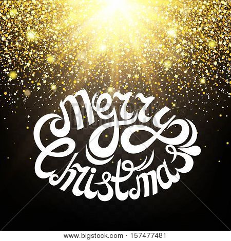Effect of particles flying on top of the gold luster dust sparks luxury design rich background. Merry Christmas Letter. The effect of sunlight illumination. Luxury golden texture.