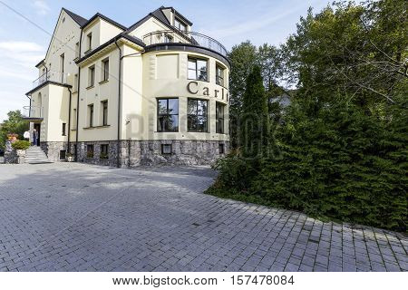 ZAKOPANE POLAND - SEPTEMBER 23 2016: Villa called Carlton which is a modernist building is housing the guest house that was opened in 1927 and its renovation was done in 2014